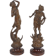 Wonderful Antique 1920s Pair Grand Tour Warm Burnished Metal Sculptures After A.J. Scotte (French, 1867-1925)