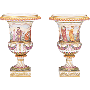 Antique 1900s Gilt Painted Classical Porcelain Capodimonte Urns Vases 10.25""