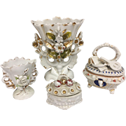 Beautiful Collection of Four Antique English Fairing Porcelain Pieces: Vases, Trinket Boxes, Staffordshire