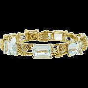 Stunning Vintage Estate 1950s Retro Aquamarine Gemstone and 18k Gold Bracelet