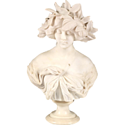 Stunning and Impressive Adolfo Cipriano Marble Bust Statue Sculpture Woman Laurel Crown (Italian, act. 1880-1930)