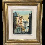 "Beautiful Retro Mid-Century Vintage Original Paris Street Oil Painting by A. Franchet  (1896-1961) 13x15"""