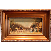 "Beautiful Mid Century 1950s Retro Vintage French Paris Street Original Oil Painting, Gilt Framed, 9x15"""