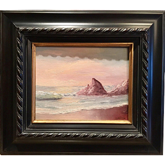 Outstanding Vintage Signed Seascape Beach Ocean Original Oil Painting Gilt Frame.