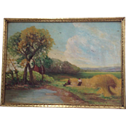 Beautiful Vintage Mid-Century Signed Original Oil Painting Country Landscape