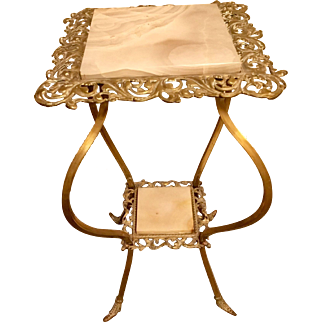Beautiful Victorian Marble Ornate Brass Accent Table Circa1870s