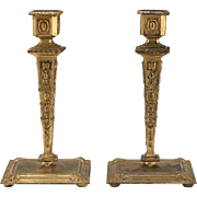 Beautiful Antique French Baroque Style Pair of Gilt D'Ore Bronze Candlesticks, ca. Late 19th Century, 9""