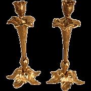 "Antique Pair Gilt Bronze French Flora Design Art Nouveau Candleholders Candlesticks 9.5"""
