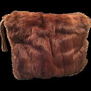 Vintage Muskrat Brown Striated Fur Hand Bag Muffler for Evening Wear