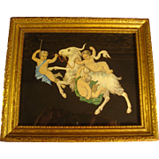 Beautiful Vintage Watercolor Pompeii Style Frieze Painting of Cherubs & Goats in Gilt Italian Frame sized 8x10""