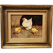 Beautiful Hen with Chicks Vintage Mid-Century Original Oil Painting Gilt Frame