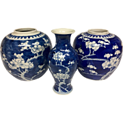 Beautiful Vintage and 1900s Blue White Japanese / Chinese Asian Cherry Blossoms Cracked Ice Vase Set Collection
