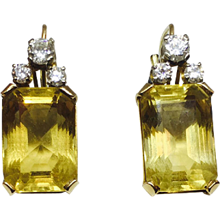 Gorgeous 14K Gold Drop Earrings Featuring 0.98 ct of Diamonds and 22.82 ct of Emerald Citrines.