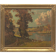 Stunning Large 19th Century Antique Estate Original Oil Painting Signed by Artist, Prairie Gilt Carved Wood Frame