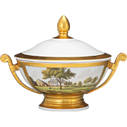 "Stunning Paris Porcelain Lidded Double-Handled Bowl with Gilt, 8"" from Dorothy Draper Family."