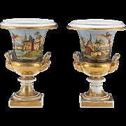 "Stunning and Impressive Dorothy Draper Family Estate Pair of Paris Porcelain Urns Vases 9.75"" High"