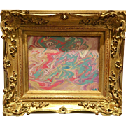 """Abstract Pink & Aqua Marbling"", Original Acrylic Painting by artist Sarah Kadlic, 8x10 with French Gilt Wood Frame"