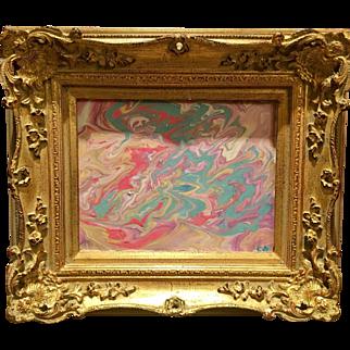"""Abstract Pink & Aqua Marbling"", Original Acrylic Painting by artist Sarah Kadlic, 8x10 with French Gilt Wood Frame"