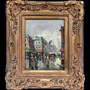 Vintage Mid-Century 1950s Antonio DeVity Original Oil Paris Street Painting in Original Gilt Frame
