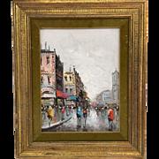 """Vintage Mid-Century Antonio DeVity Original Oil Painting in Original Gilt Frame- Paris Street Scene 8x11"""""""