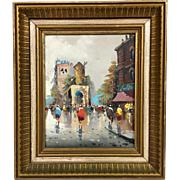 Vintage Mid-Century Antonio DeVity Original Oil Painting in Original Gilt Frame - Paris Street Scene Moulin Rouge