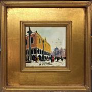 Vintage Retro Mid-Century Antonio DeVity Original Oil Painting Venice Italy Italian Piazza Scene