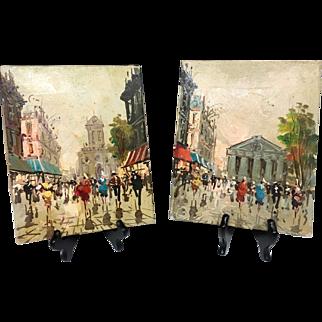 Adorable Beautiful Pair Mid Century 1940s 1950s Original Signed Oil Paintings of Paris Street scenes