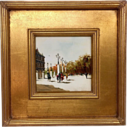 Vintage Mid-Century Antonio DeVity Original Oil Painting in Beautiful Updated Gold Gilt Frame - Paris Street Scene