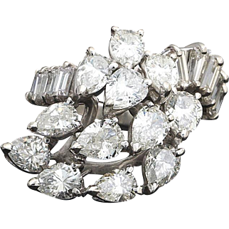 Stunning Vintage Estate Ladies' 1950s Retro Platinum and 4.60 cttw Pear Baguette Diamond Anniversary Cluster Ring Band