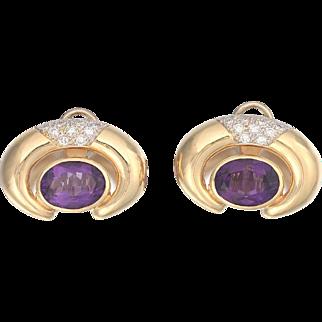 Stunning Large Impressive Pair of Amethyst and G/H VS Diamond Pierced 14kt Gold Earrings