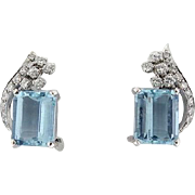 Stunning 1950s Platinum Diamond Aquamarine Gemstone Clip Earrings
