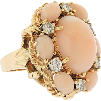 Stunning and Impressive Large 0.50 Diamond Angel Skin Cabochon Coral 1970's Cocktail Statement Ring
