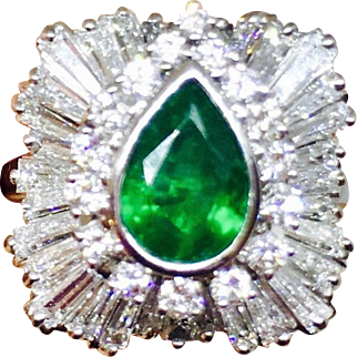 "Stunning 1950s 4.13 cttw Platinum Emerald Diamond Ballerina Ring ""Ring-Dant"" Convertible Pendant for Necklace"