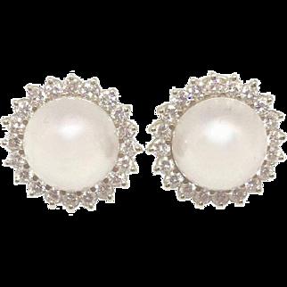 "Stunning G-H/VS Diamond 14k Gold Mabe Pearl Pierced Earrings 3/4"""