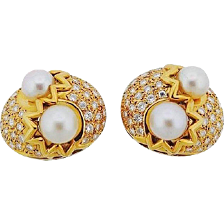 Impressive 18k Gold Earrings 2.00 Carats H/VS Diamond and Cultured Pearl Clip Earrings