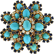 Stunning Vintage Estate 18k Gold Turquoise, 1.10ctw Diamond and Sapphire Brooch Pin Pendant for Necklace