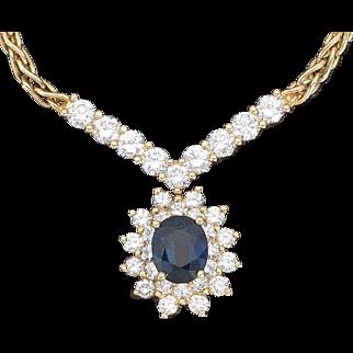 Stunning Estate Vintage Ladies' Sapphire and 1.20cttw G/VS1 Diamond Necklace