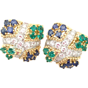Stunning Impressive Pair 3.00cttw of Diamond, Emerald & Sapphire 18k Gold Vintage 1980s Earrings 2.00cttw G/VVS1 Diamonds