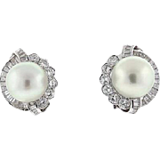 Stunning & Impressive 18k Gold Vintage Estate 14.8mm South Sea Pearl, 3.60cttw Brilliant GH/VS Diamond Earrings