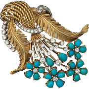 Impressive Art Deco 1940s Large French 18k gold bouquet brooch/pin/pendant set with turquoise cabochons and 2.0 carats of G-H/VS diamonds, c.1940s.