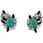 Stunning and Impressive Vintage Estate 1960s Large Turquoise, 2.50cttw Diamond and Sapphire Earrings set in 18k Gold