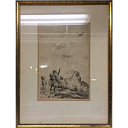 "Beautiful Rare 1940s Listed Illustrator Diana Thorne Dry Point Etching of Children ""Spotting a Plane"" Framed in Gilt Wood Frame"