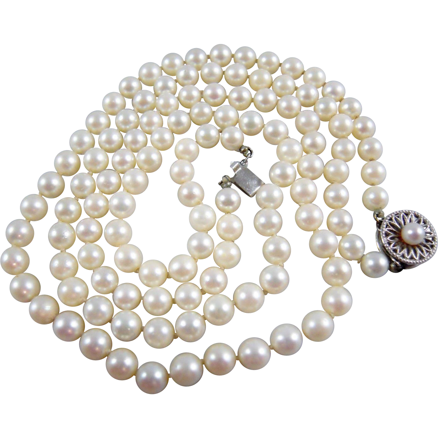 Beautiful Double Strand Semi Choker Cultured Pearl 5 6mm Necklace With  White 14k Karat Gold Clasp