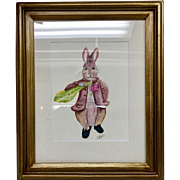 Vintage Easter Bunny / Peter Cottontail Watercolor Original Painting Signed by Artist Sarah Kadlic, Framed 12x16""
