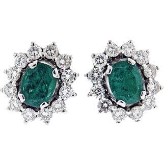 Stunning 1950s Estate 1.70 Ctw Brilliant Cut G/H VS Diamond and Emerald Stud 18k Gold Pierced Earrings