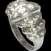 Stunning Art Deco Old European Glitzy H/VS 0.80cttw Diamond Platinum Cocktail Ring