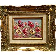 """Abstract Colored Wildflowers"", Original Oil Painting by artist Sarah Kadlic, 8x10"" Giltwood Framed"