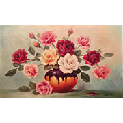 Gorgeous Vintage Estate French Floral Original Oil Painting Still Life Vase of Flowers, 13x21.5""