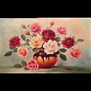 "Gorgeous Vintage Estate French Floral Original Oil Painting Still Life Vase of Flowers, 13x21.5"""
