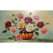 Beautiful Vintage Estate French Original Oil Painting Still Life Vase of Flowers, 13x21.5""